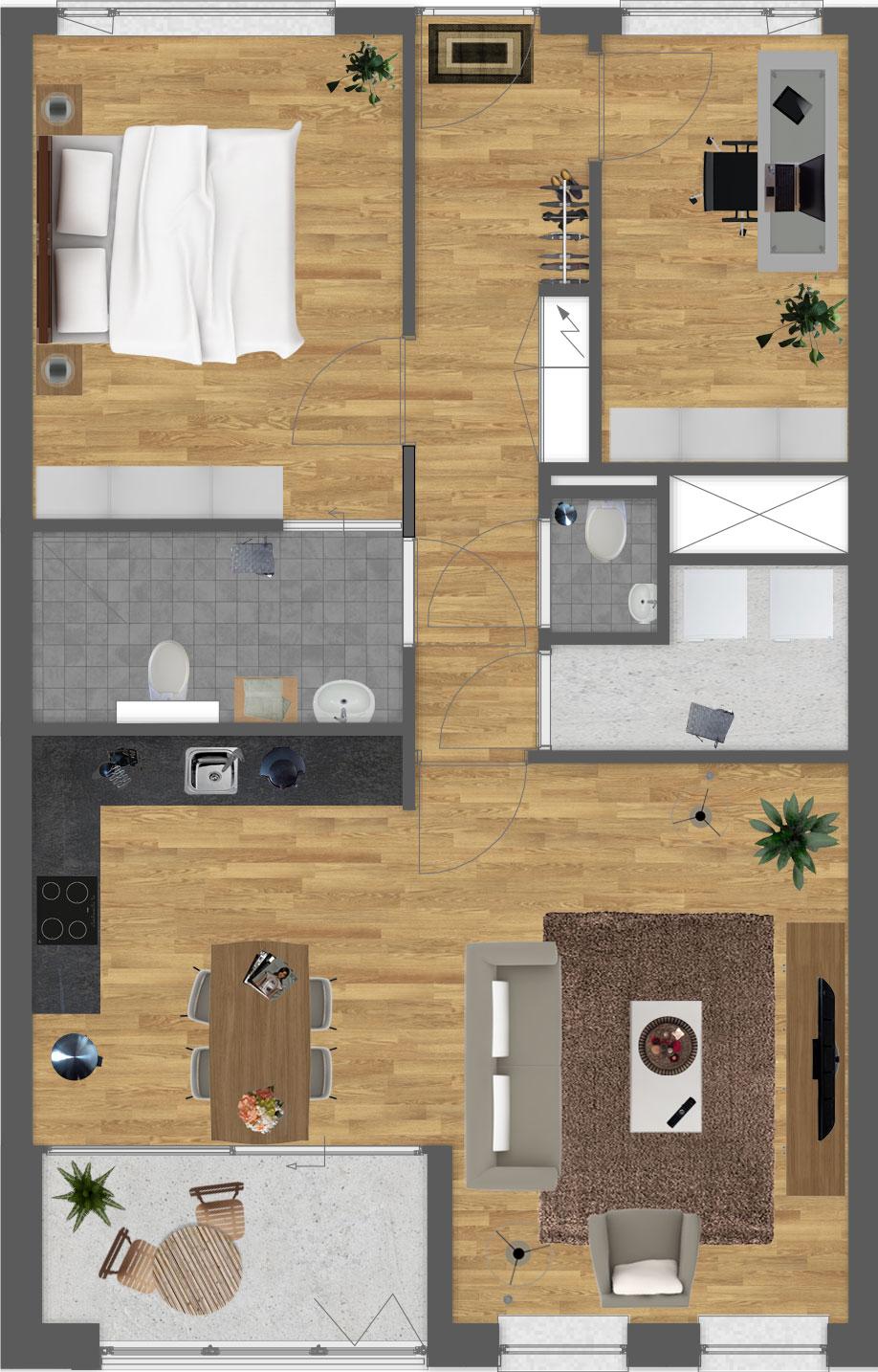 Download plattegronden als PDF Bekijk 3D impressie